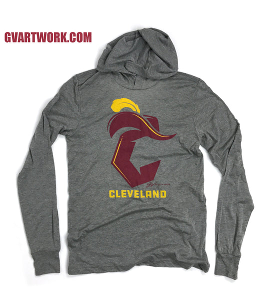 Cleveland Basketball C Logo Long Sleeve Hooded T shirt