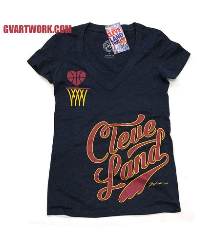 Womens Cleveland Basketball V neck Shirt