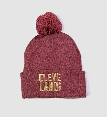 Cleveland That I Love Rose Pom Pom Winter Hat