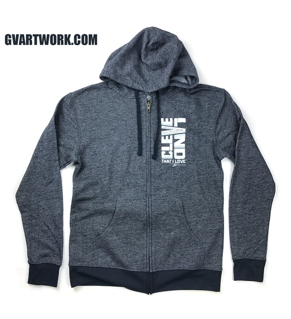 6458c51fb63 Two Tone Bold Cleveland Navy Zip Up Hoodie