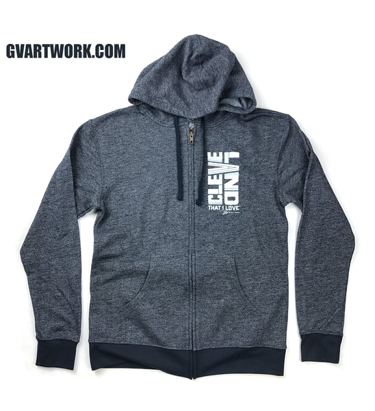 Two Tone Bold Cleveland Navy Zip Up Hoodie