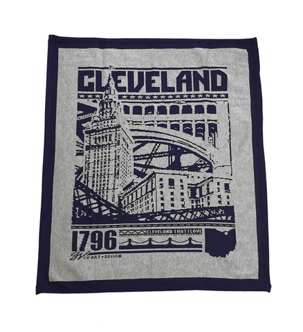 Cleveland Bold Graphic Grey/Navy Blanket