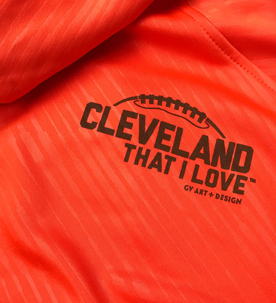 Cleveland Football C Collar Orange Hooded Sweatshirt