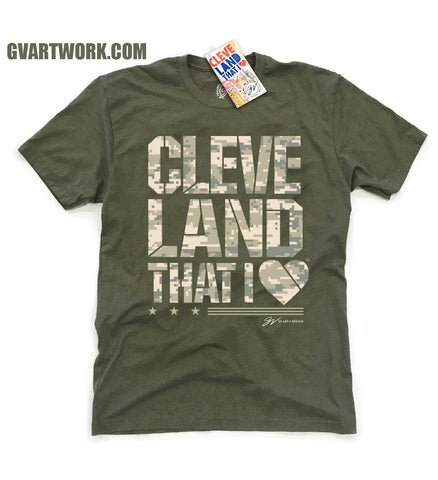 Military Camo Edition Cleveland That I Love T shirt - Green