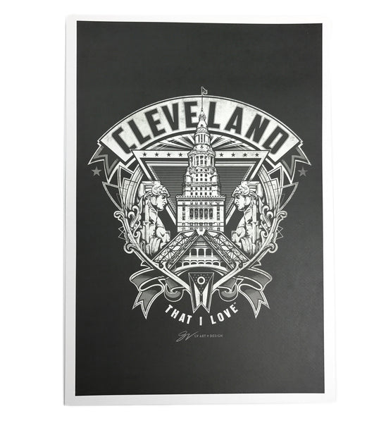 Cleveland Crest Graphic Fine Art Print - Black