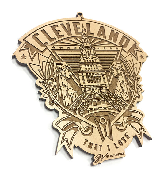 Cleveland Crest Wooden Ornament