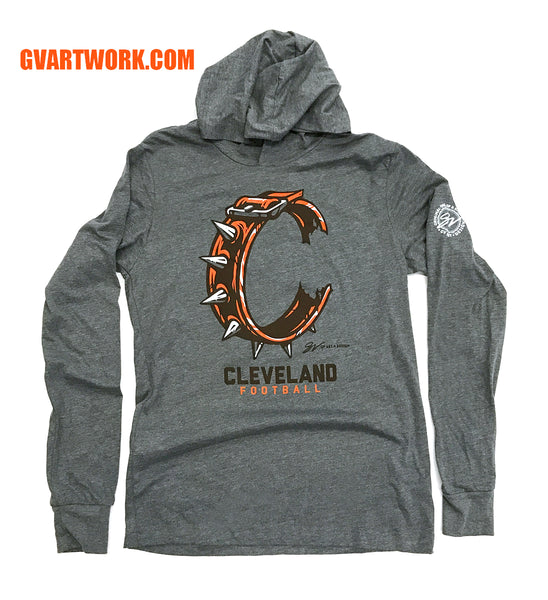 Cleveland Football C Collar Long Sleeve Hooded T shirt