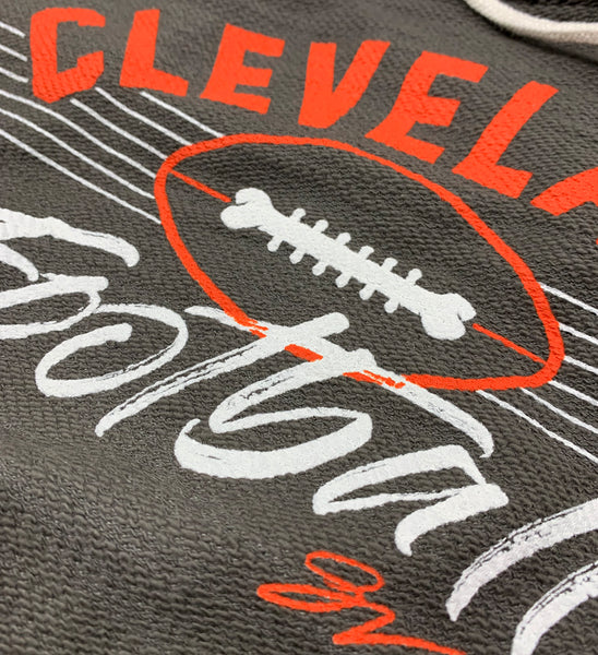 Womens Cleveland Football Lace Up Hooded Sweatshirt