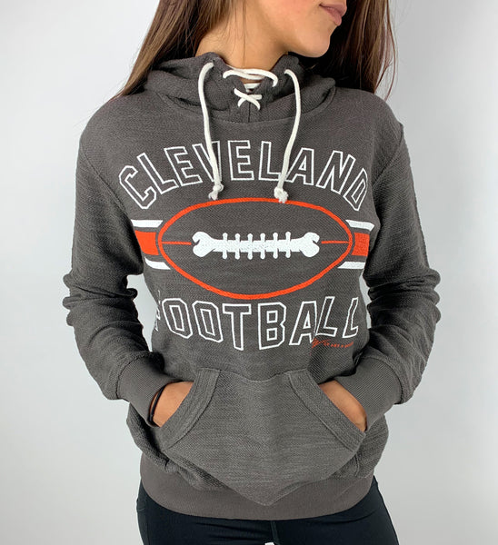 Womens Cleveland Football Stripes Lace Up Hooded Sweatshirt