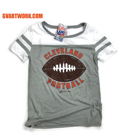Womens Cleveland Football Skyline Two Tone T shirt