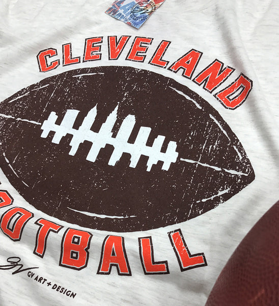 Womens Vintage Cleveland Football Skyline T shirt