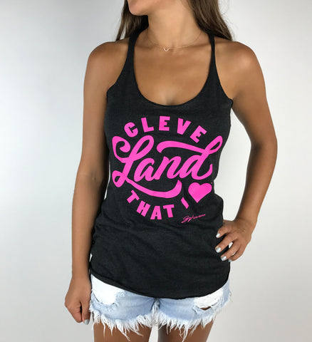 Womens Charcoal Pink Cleveland That I Love Racerback Tank