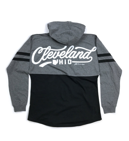 Womens Script Cleveland Black/Grey Hooded Spirit Tee