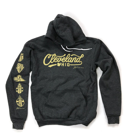 Cleveland Script Hooded Sweatshirt Charcoal/Gold