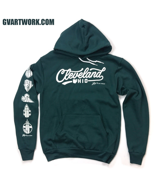 Cleveland Script Hooded Sweatshirt Forest/White