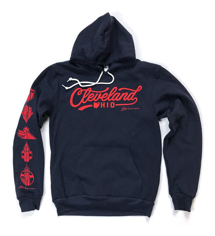 Cleveland Script Hooded Sweatshirt Navy/Red
