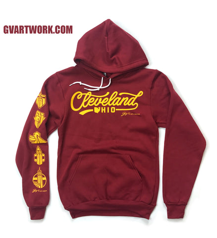 Cleveland Script Hooded Sweatshirt Wine/Gold