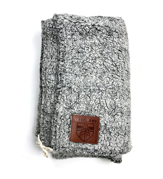 Grey Cleveland That I Love Leather Patched Sherpa Blanket