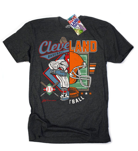 Vintage Cleveland Baseball/Football Split T shirt