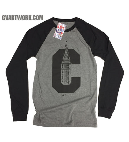 Long Sleeve Cleveland C Terminal Tower Two Tone Shirt