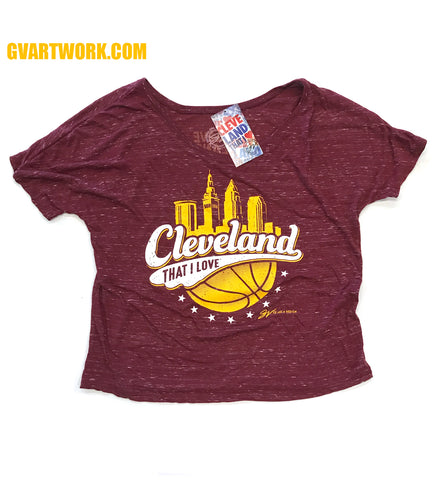 Womens Cleveland That I Love Basketball Cityscape Slouchy