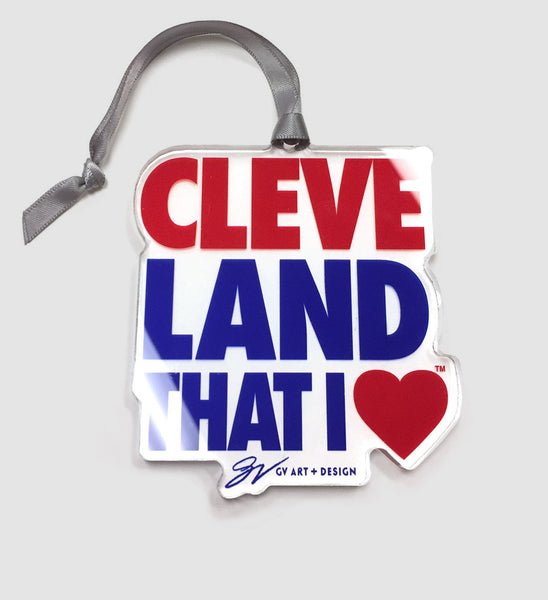 Cleveland That I Love Clear Ornament