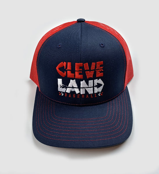 Cleveland Baseball Arrows Mesh Snap Back - Red/Navy