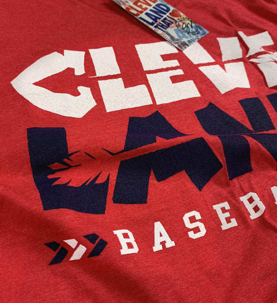Cleveland Baseball Arrows Strike Through Red T shirt