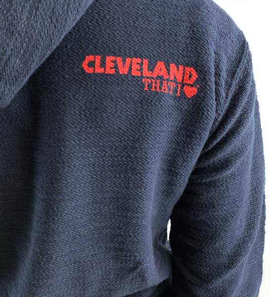 Womens Cleveland Baseball Pattern Lace Up Hooded Sweatshirt