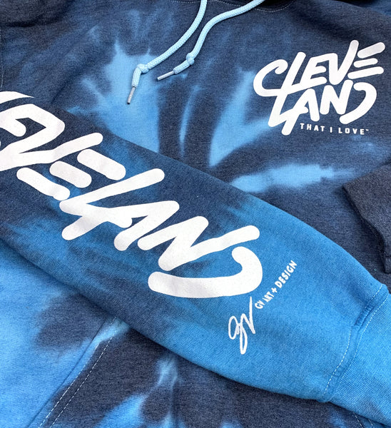 Cleveland Blue Tie Dye Hooded Sweatshirt