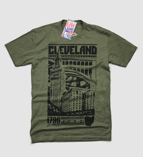 Cleveland Bold Graphic T - Military Green