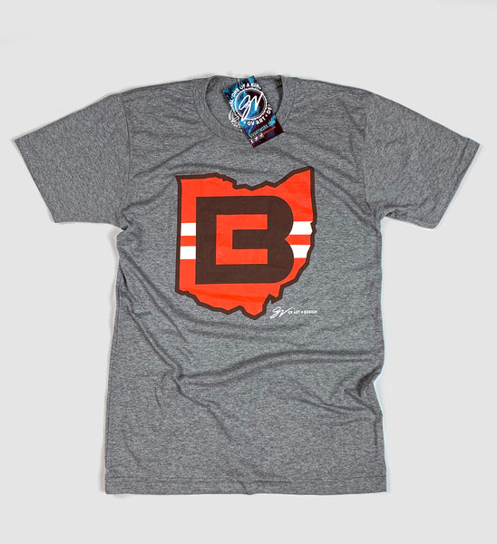 Cleveland Football Grey CB Ohio T shirt