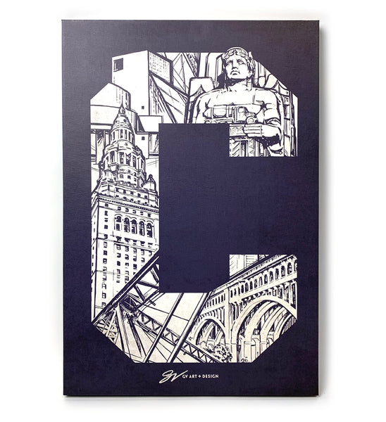 Cleveland C Landmarks Graphic Canvas Artwork