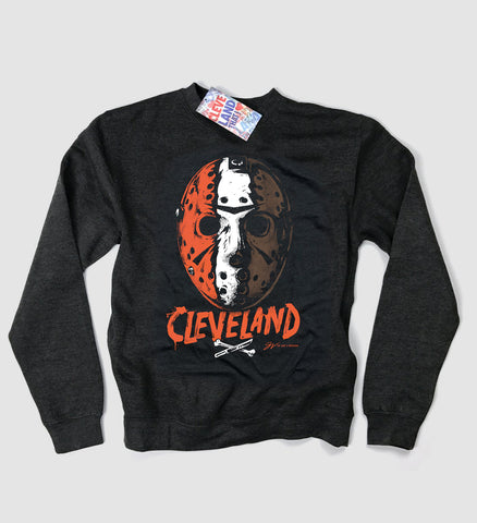 Cleveland Football Halloween Mask Crew Sweatshirt