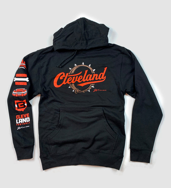 Cleveland Football Script Collar Hooded Sweatshirt