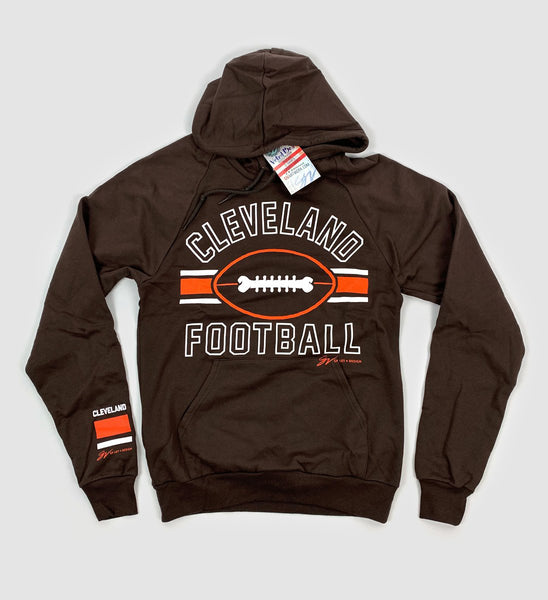 Brown Cleveland Football Stripes Hooded Sweatshirt