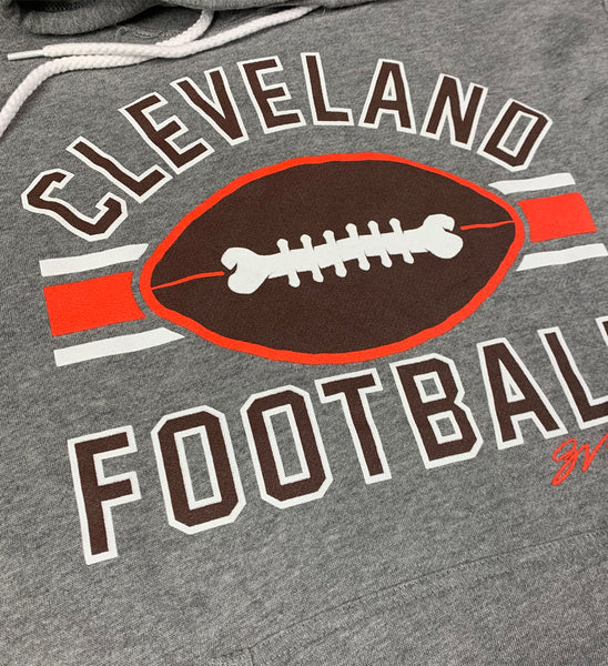 Grey Cleveland Football Stripes Hooded Sweatshirt