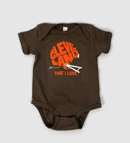 Cleveland That I Love Helmet Brown Onesie
