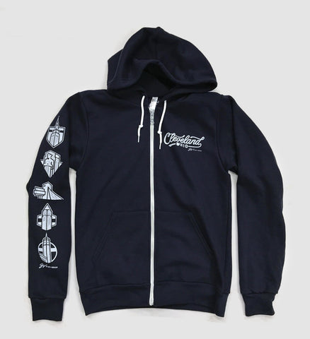 Navy Cleveland Script Icons Zip Up Sweatshirt