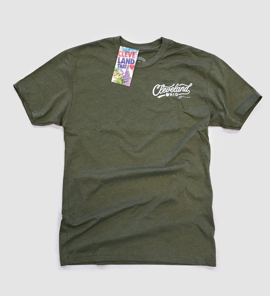Cleveland Script Icons Green T shirt