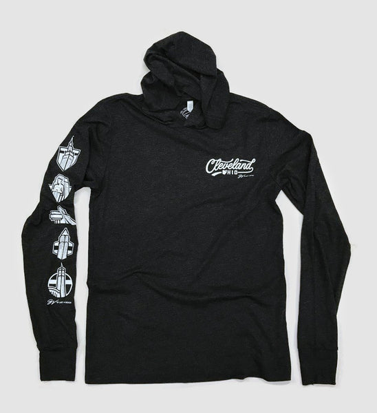 Cleveland Script Icons Long Sleeve Hooded T shirt Black