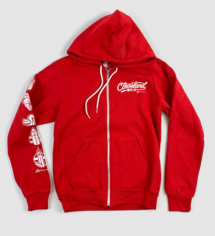 Red Cleveland Script Icons Zip Up Sweatshirt