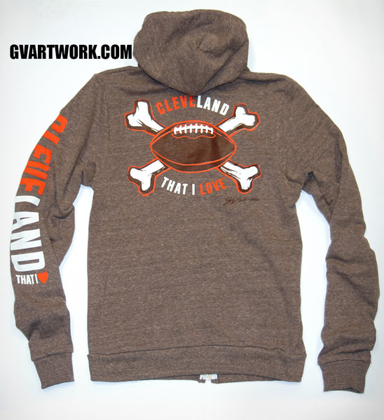 Cleveland That I Love Coffee Football Zip Up Hoodie
