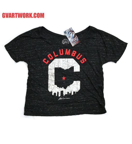 Womens Slouchy Columbus C Skyline T shirt