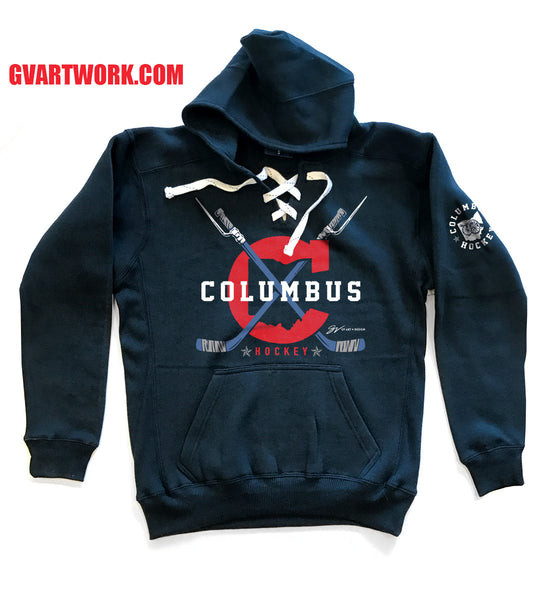 Columbus Hockey Style Hooded Sweatshirt