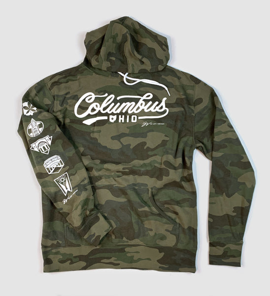 Columbus Script Camo Hooded Sweatshirt