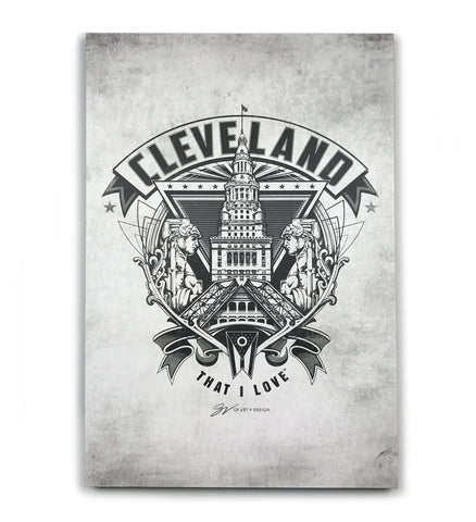 Cleveland Crest Canvas Artwork - Grey
