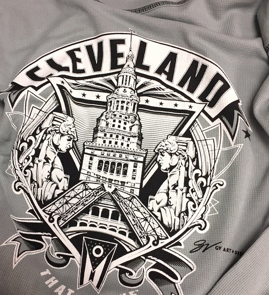 Cleveland Crest Graphic Grey Thermal T shirt