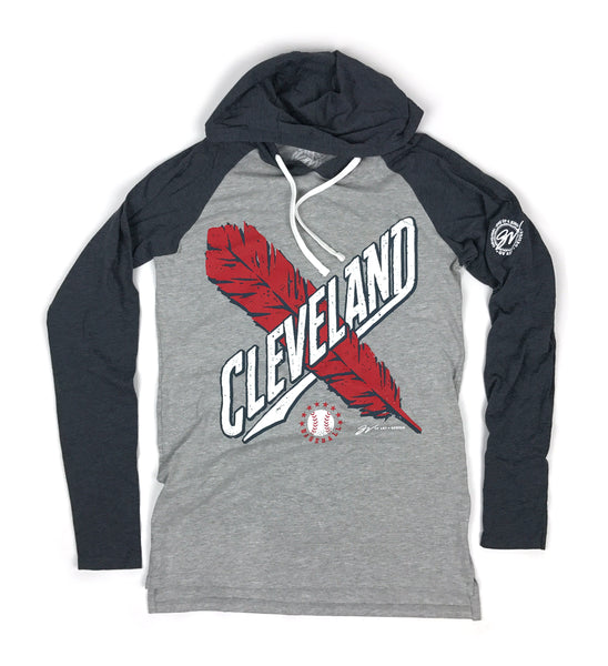Cleveland Baseball Cross Feather Two Tone Hooded T shirt