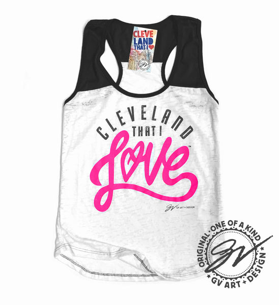 Womens Cleveland That I Love Burnout Tank Black/Pink